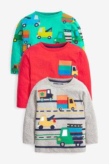 Next 3 Pack Long Sleeve Character T-Shirts (3mths-7yrs) - 277382