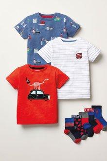 Next 3 Pack Appliquu Taxi T-Shirts (3mths-7yrs) - 277397