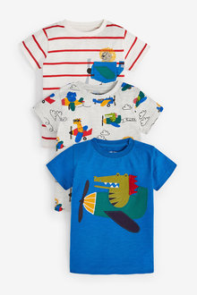 Next 3 Pack Rainbow Crocodile Short Sleeve T-Shirts (3mths-7yrs) - 277399