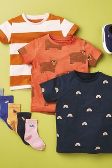 Next 3 Pack Printed and Stripe T-Shirts (3mths-7yrs) - 277402