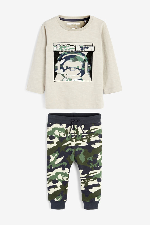 Next Gel Print Monkey T-Shirt And Camo Printed Joggers Set (3mths-7yrs)