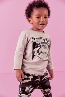 Next Gel Print Monkey T-Shirt And Camo Printed Joggers Set (3mths-7yrs) - 277405