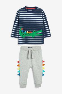 Next Long Sleeve Appliquu Crocodile T-Shirt and Joggers Set (3mths-7yrs) - 277408