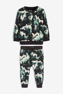 Next Drippy Camo Crew And Joggers Set (3mths-7yrs) - 277468