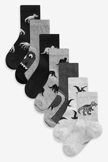 Next 7 Pack Cotton Rich Dinosaur Socks (Younger) - 277586