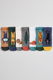 Next 7 Pack Bamboo Rich Animal Socks (Younger) - 277595