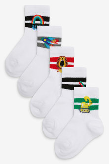 Next 5 Pack Ribbed Character Sports Socks (Younger) - 277603