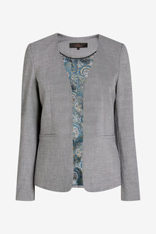 Next Sharkskin Texture Collarless Tailored Jacket - 277679