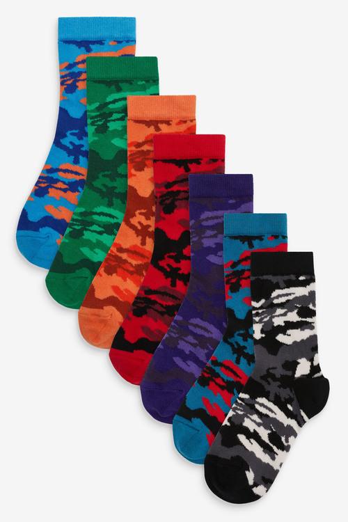 Next 7 Pack Cotton Rich Camo Socks (Older)