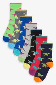Next 7 Pack Cotton Rich Dino Socks (Older) - 277868