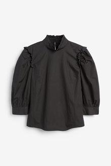 Next Cotton Poplin Puff Sleeve Top-Regular - 277933