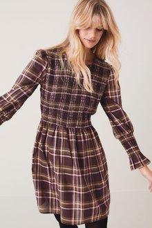 Next Smocked Fluted Cuff Dress-Regular - 277988