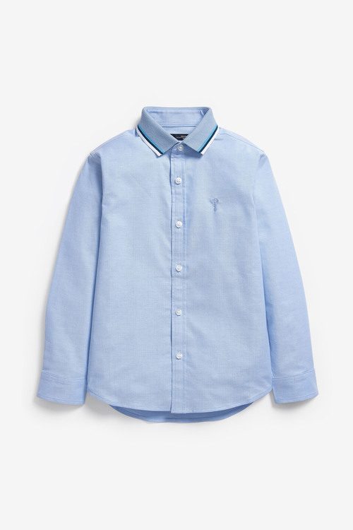 Next Long Sleeve Oxford Shirt With Jersey Collar (3-16yrs)