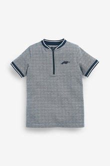 Next Check Baseball Zip Neck Poloshirt (3-16yrs) - 278091