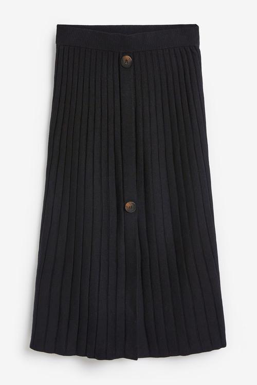 Next Button Detail Midi Skirt