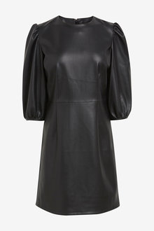 Next Faux Leather Volume Sleeve Dress - 278249