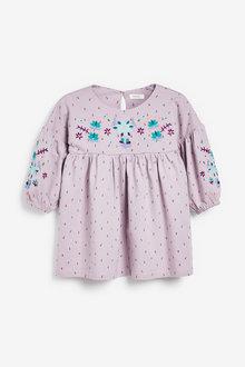Next Embroidered Puff Sleeve Dress (3mths-7yrs) - 278273