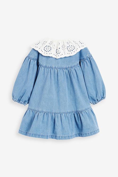 Next Broderie Collar Denim Dress (3mths-7yrs)