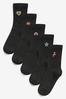 Next 5 Pack Multi Embroidered Ankle Socks - 278352