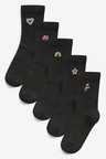 Next 5 Pack Multi Embroidered Ankle Socks