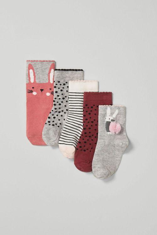 Next 5 Pack Pom Pom Bunny Socks