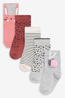 Next 5 Pack Pom Pom Bunny Socks - 278357