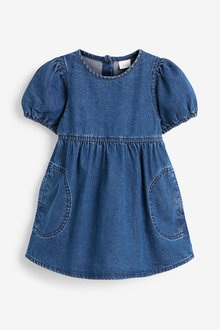Next Puff Sleeve Denim Dress (3mths-7yrs) - 278358