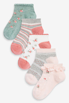 Next 5 Pack Floral Trainer Socks - 278363