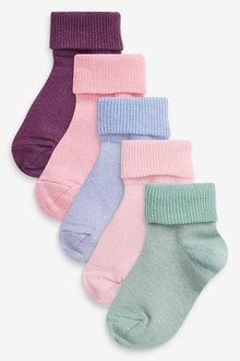 Next 5 Pack Pretty Turnover Socks - 278368