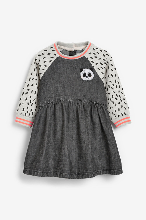 Next Panda Denim Raglan Dress (3mths-7yrs)