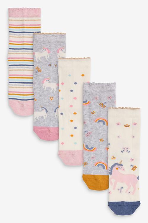 Next 5 Pack Pretty Unicorn Socks