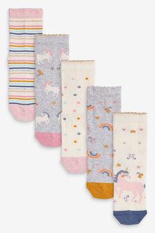 Next 5 Pack Pretty Unicorn Socks - 278383