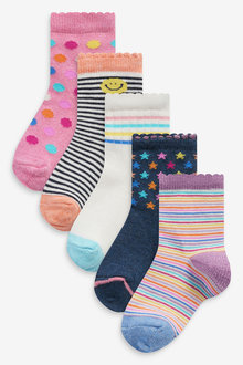 Next 5 Pack Bright Sporty Socks - 278385