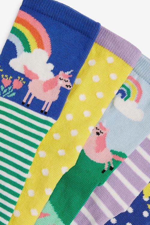 Next 5 Pack Unicorn Scene Socks