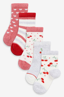 Next 5 Pack Cherry Ankle Socks - 278397