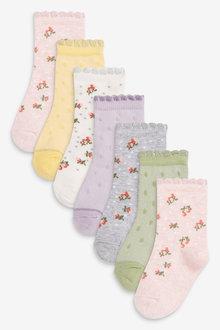 Next 7 Pack Floral Ankle Socks - 278399