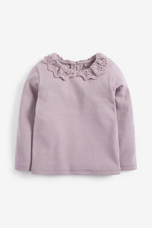 Next Brushed Broderie Collar Top (3mths-7yrs) - 278475