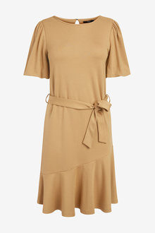 Next Puff Sleeve Belted Dress-Regular - 278555