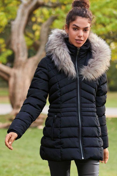 Next Faux Fur Halo Padded Short Jacket