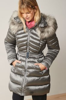 Next Metallic Belted Padded Jacket - 278582
