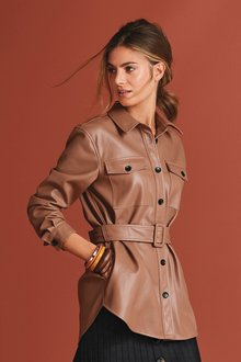 Next Faux Leather Belted Shirt Jacket - 278593
