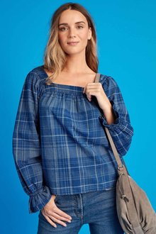 Next Check Square Neck Top-Tall - 278681