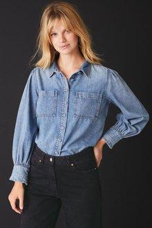 Next Puff Sleeve Denim Shirt-Tall - 278683