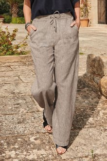 Next Linen Blend Wide Leg Trousers-Regular - 278704