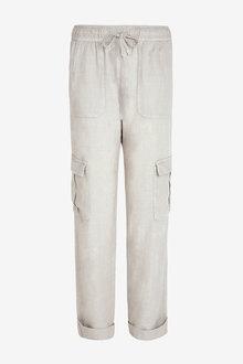 Next Linen Blend Utility Trousers-Regular - 278705