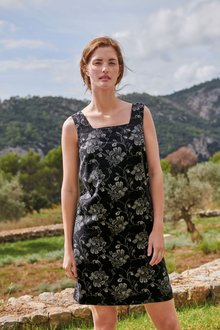 Next Linen Blend Square Neck Dress-Regular - 278729