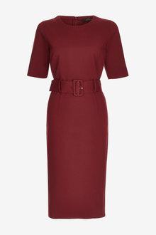 Berry Ponte Bodycon Dress - 280128