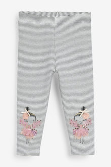 Monochrome Fairy Embroidered Leggings - 280131