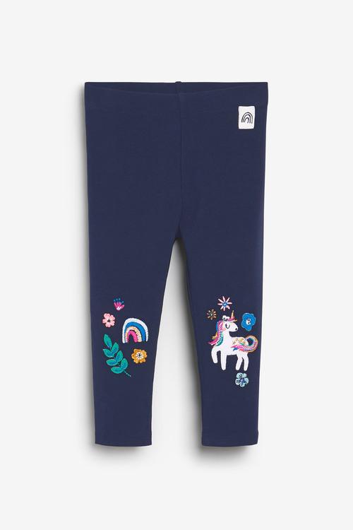 Navy Unicorn Embellished Leggings