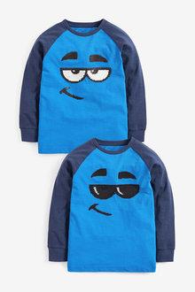 Cobalt Long Sleeve Flippy Sequin T-Shirt - 280135